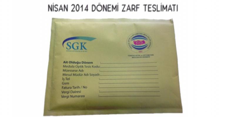 Nisan 2014 dönemi zarf teslimatı