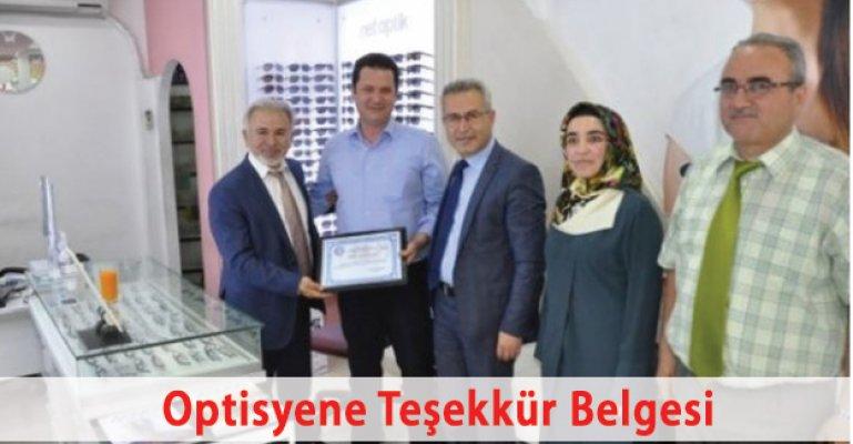 Net Optik Sahibi Murat Lükel'e Teşekkür Belgesi
