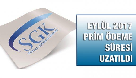Eylül 2017 SGK Prim Ödemeleri 7/11/2017 tarihine ertelendi.