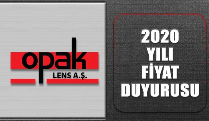Opak Lens AŞ 2020 Yılı Fiyat Duyurusu
