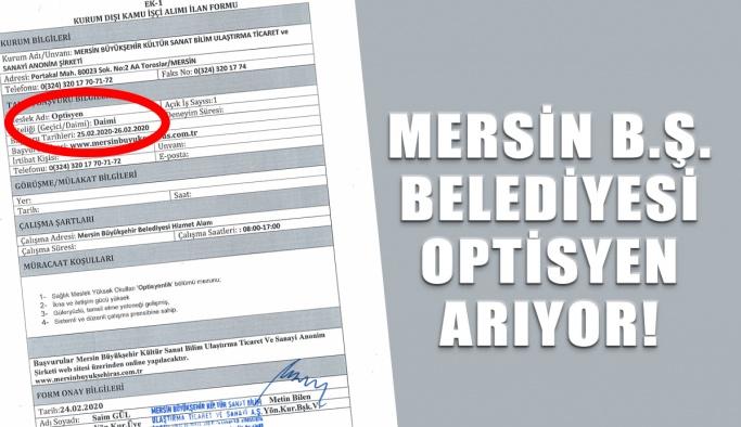 Mersin B.Ş. Belediyesi Optisyen Arıyor!