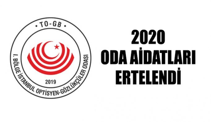2020 Oda Aidatları Ertelenmesi Hakkında