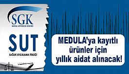 MEDULA'ya kayıtlı ürünler için yıllık aidat alınacak!
