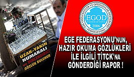 EGE FEDERASYONU'NUN, HAZIR OKUMA GÖZLÜKLERİ İLE İLGİLİ TİTCK'NA GÖNDERDİĞİ RAPOR !