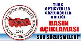 """Türk Optisyenler - Gözlükçüler Birliği Basın Açıklaması """"SGK SÖZLEŞMELERİ"""""""