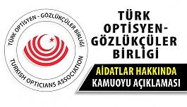 Türk Optisyen-Gözlükçüler Birliği'nden Aidat Açıklaması